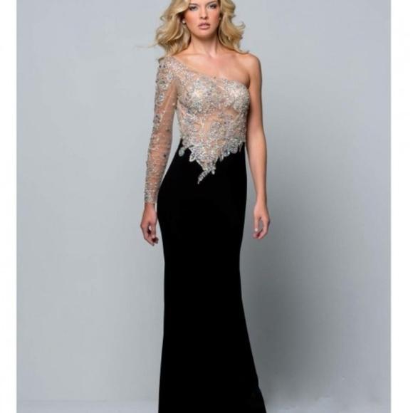 84ae2adb9c2 NWT Terani Couture Illusion Beaded Gown Sz 4 6
